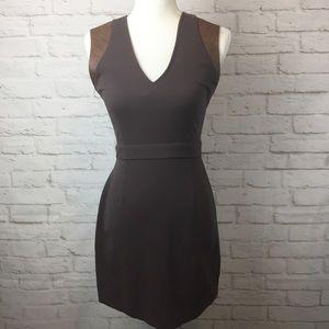 BB Dakota V neck/open back dress w/ leather trim